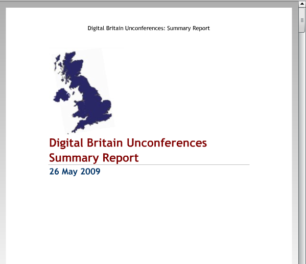Digital Britain Unconferences: The Report